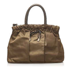 Vintage Authentic Prada Brown Nylon Fabric Tessuto Handbag Italy