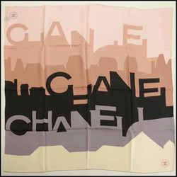 Rdc11655 Authentic Chanel Pink/black/grey Skyline Silk Scarf