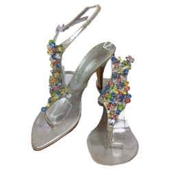 GIUSEPPE ZANOTTI Silver Slingback Open Toe Heel with Multi Color Beads Size 9