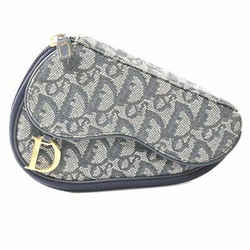 Auth Christian Dior Canvas Trotter Saddle Pouch Navy