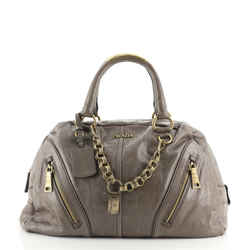 Chain Link Bowler Bag Vitello Shine Large