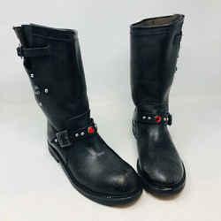 Golden Goose Ggdb Black Leather Moto Studs  Boots 2400-536-1210