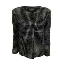 Chanel Black / White Windowpane Check Blazer