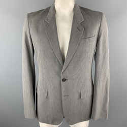 Martin Margiela 40 Regular Gray Stripe Cotton Notch Lapel  Sport Coat