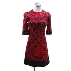 Dolce & Gabbana Black Viscose Red Embroidery Dress Sz 0