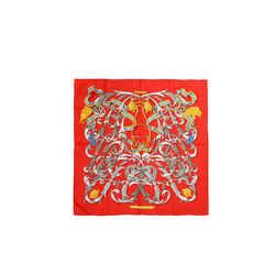Hermes Red Le Mors A La Conetable 90 Cm Silk Scarf