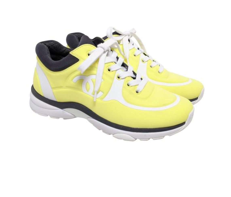Chanel Neon Yellow Lycra Sneakers | LePrix