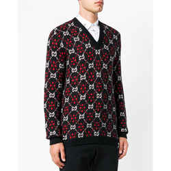 L NEW $1,480 GUCCI Mens Black GG Red & White SUPREME V-neck Cotton-blend SWEATER