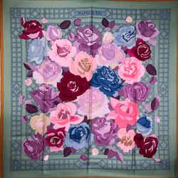 Rare Roseraie Hermes Scarf By Vauzelles 90 Cm Silk