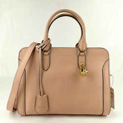 $1345 Alexander Mcqueen Powder Pink Leather Skull Padlock Handbag 419780 9934