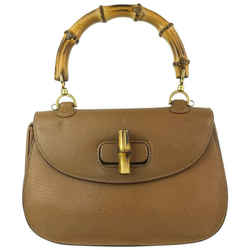 Gucci Brown Leather Bamboo Top Handle Flap Bag 8GG918