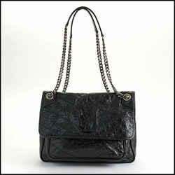 Rdc11115 Authentic Saint Laurent Black Crinkled Calfskin Matelasse Niki Bag
