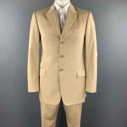 Paul Smith 40 Long Khaki Cotton Notch Lapel Suit