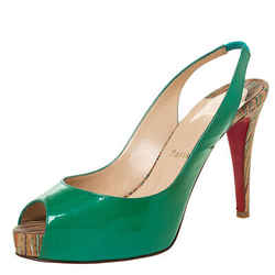 Christian Louboutin Green Patent Leather Private Number Peep Toe Slingback