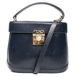 Mark Cross - Benchley Camera Bag - Navy Leather With Gold Hardware