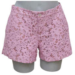 GUCCI Shorts Lace Pink Rose Zipper Pockets Cotton Viscose Lined Sz 42