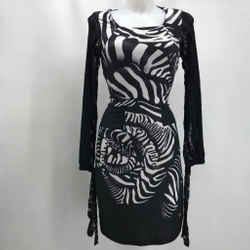 Roberto Cavalli Black Zebra Print Medium