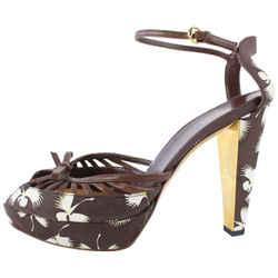 Gucci Flower Print Platform Sandal Heel 11gz0727