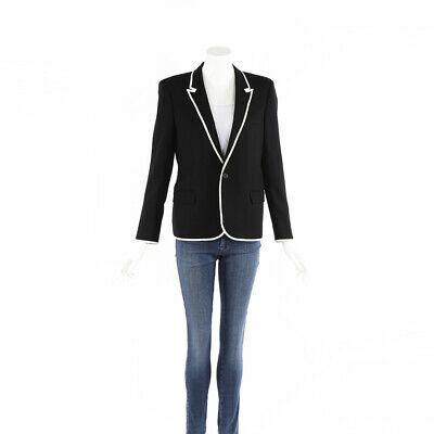 Saint Laurent Jacket Black White Wool Silk Blazer