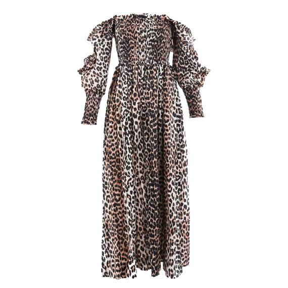 Ganni Animal Print Silk Maxi Dress Sz 36