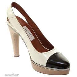 Lanvin Patent Leather Cream Brown Platform Pump Sandal Silver Slingback Wood 40