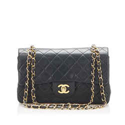 Black Chanel Small Classic Lambskin Leather Double Flap Bag