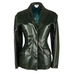 Azzedine Alaia Jacket Vintage Shaped Dark Bottle Green Leather 38
