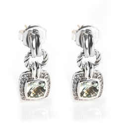 David Yurman Renaissance Prasiolite Diamond Earring In  Sterling Silver 0.46 Ctw