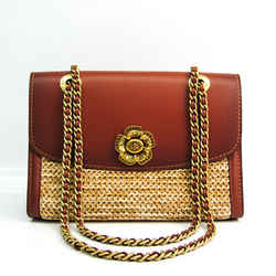 Coach Parker In Colorblock 69624 Women's Leather,Straw Shoulder Bag Bei BF522439