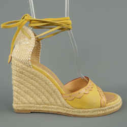 Louis Vuitton Size 9.5 Yellow Suede Tied Ankle Strap Espadrille Wedges