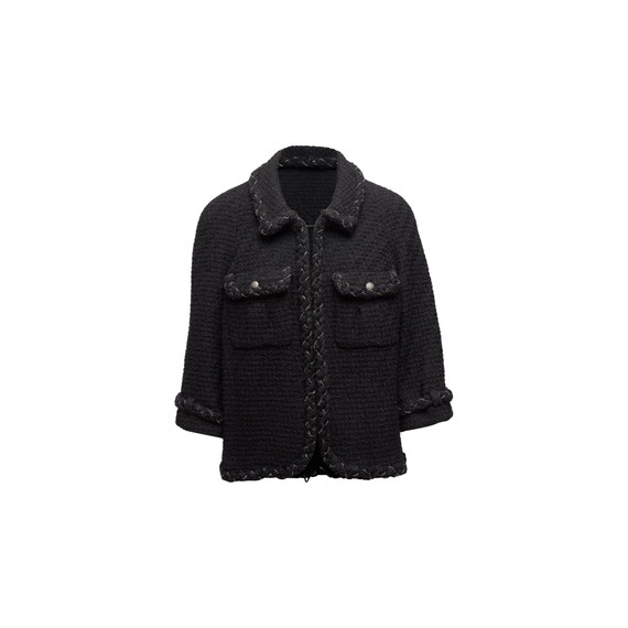 Black Chanel Wool & Chain-Link Jacket