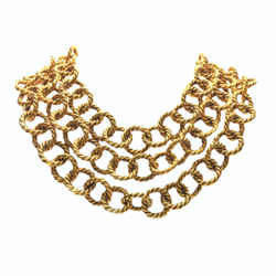 Chanel  Vintage  Gilt Metal Triple Strand Cabled Links Statement Necklace