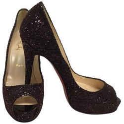 Burgundy Glitter Very Prive Peep Toe Pumps