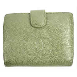 Chanel Olive Green Caviar Wallet CC Logo Snap Bifold Flap 28CCA606RL CCJY9RL