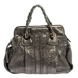 Chloe Metallic Textured Leather Heloise Satchel