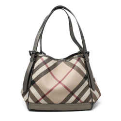 Burberry Neutral Burgundy Plaid Handbag