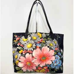 Valentino Black Floral Nylon Women's Tote Handle Bag