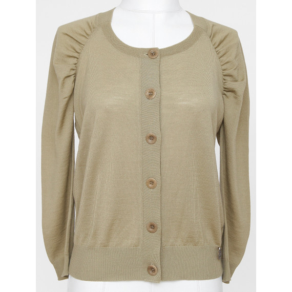 SEE BY CHLOE Cardigan Sweater Knit Top Olive Green 3/4 Sleeve Sz 40 NWT