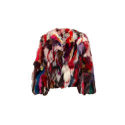 Red & Multicolor Rebecca Minkoff Fox Fur Jacket