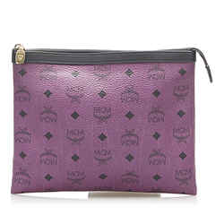 Vintage Authentic MCM Purple  with Black Calf Leather Visetos Clutch Bag Germany