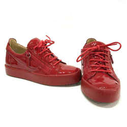 New! Giuseppe Zanotti Red Patent Leather London Zip Low-top Sneakers Sz 7.5 38