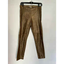 $3000 Brunello Cucinelli Golden Bronze Metallic Leather Suede Pant Leggings 6/42