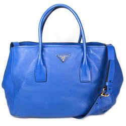 Prada - Vitello Daino Large Shoulder Tote Bag - Blue Leather Logo