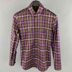 Gucci Size Xs Brown & Purple Plaid Cotton Button Up Patch Pockets Epaulettes Long Sleeve Shirt