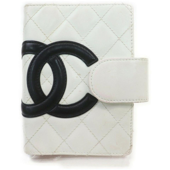 Chanel White Quilted Cambon Ligne Small Ring Agenda  861965