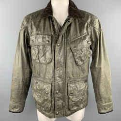 RALPH LAUREN Size L Moss Green Distressed Coated Cotton Zip & Snaps Jacket