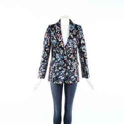 Self Portrait Multicolor Floral Print Sequin Blazer Jacket