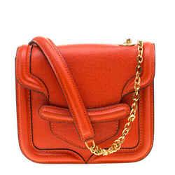 Alexander McQueen Orange Leather Mini Heroine Chain Crossbody Bag