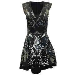 Roberto Cavalli Black Metallic Floral Sleeveless V Neck Cocktail Dress