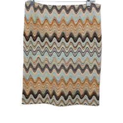 Missoni Brown Aqua Wool Tan Skirt Sz 4